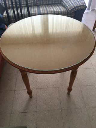 Mesa camilla redonda+cristal 80cm no extensible