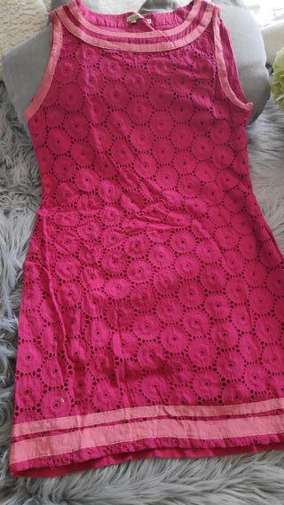 2 Vestidos de algodón y calados. En rosa y azul.