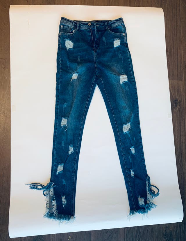 MISSGUIDED blue sinner high waisted ripped skinny