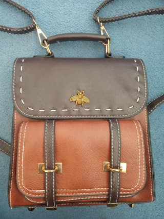 Cute vintage brown faux leather backpack