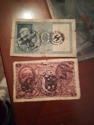 dos billetes ocupación Italia segunda Guerra mundi
