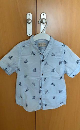 Camisa celeste cuello mao