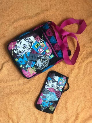 Bolso bandolera niña y estuche Monster High