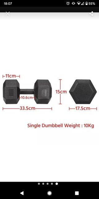 Pair of 10kg dumbells