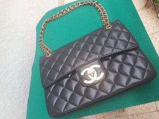 Chanel Silver Star St 90710 Vintage Flap Bag Black