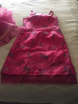 Vestido de fiesta de gasa bordado