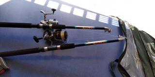 Cañas de pescar con accesorios