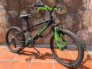 Bicicleta niño BTWIN verde y negra 6-8 años
