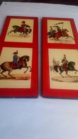 dos cuadros de postales de Soldados de Caballería