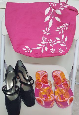 chanclas y bolsa playa.zapatos fiesta nuevos