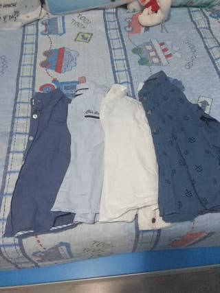 4 camisas cuello Mao niño
