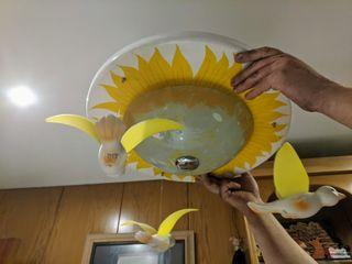 Lámpara infantil de plafón de sol con pájaros