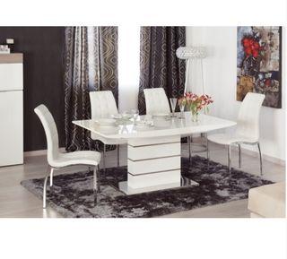 vendo mesa comedor blanco lacado y cromado