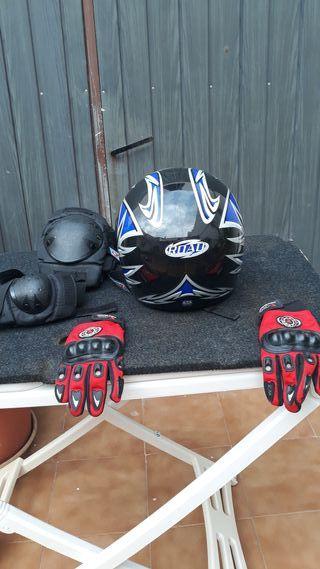 casco ROAD HX,rodilleras,coderas,guantes