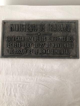 ANTIGUA PLACA DEL MINISTERIO DE TRABAJO