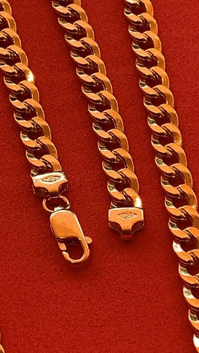 18K Collar Barbado - Cubana 7 mm 60 Oro 18 Kilates