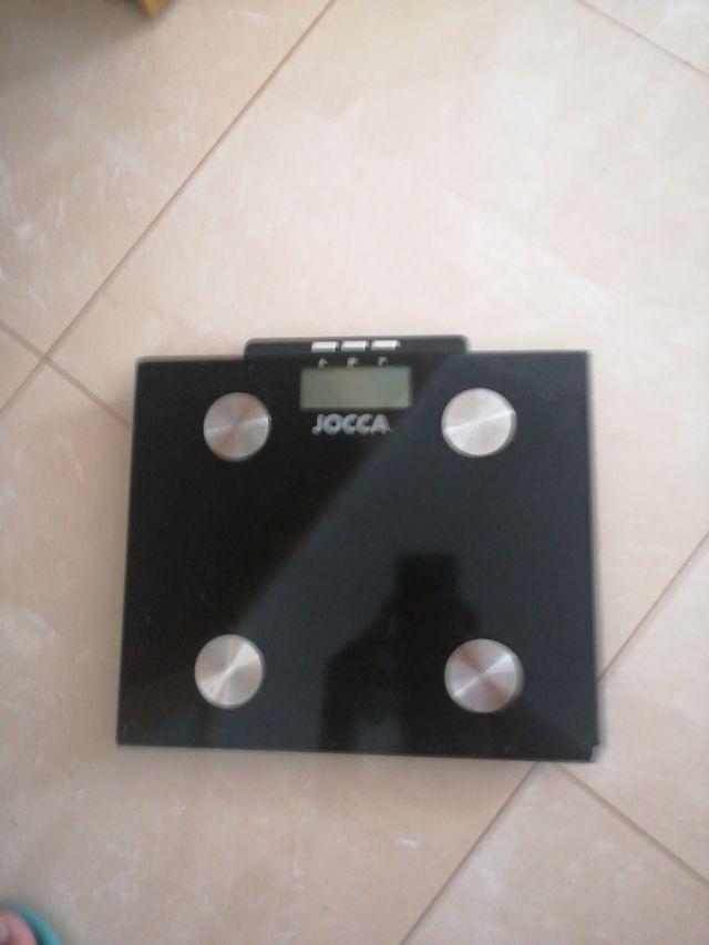 Báscula medidor de peso y grasa.