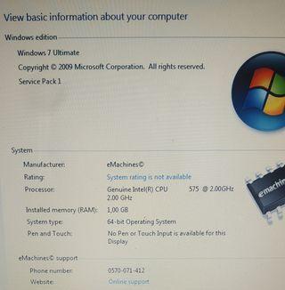 Portátil Acer Emachines