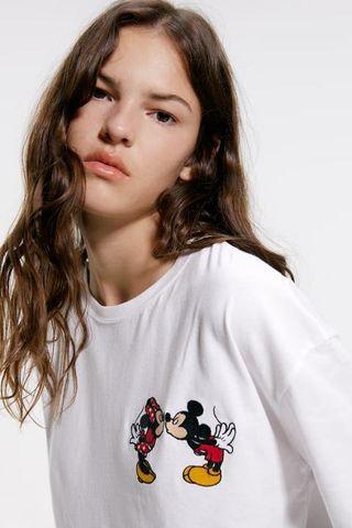 Camiseta bordado Mickey Disney Zara - S