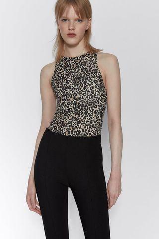 Body cuello halter leopardo Zara - S
