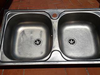 fregadero pica cocina fregadera 2 agujeros inox
