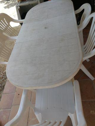 mesa plástico terraza +9 sillas