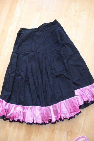 Falda midi volante rosa baile