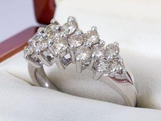Anillo Oro Blanco 14k y diamante 1.14