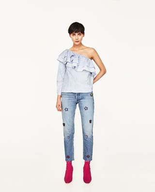 Camisa asimétrica rayas Zara