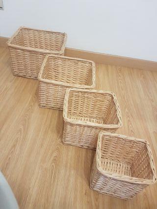 Conjunto cestos de mimbre