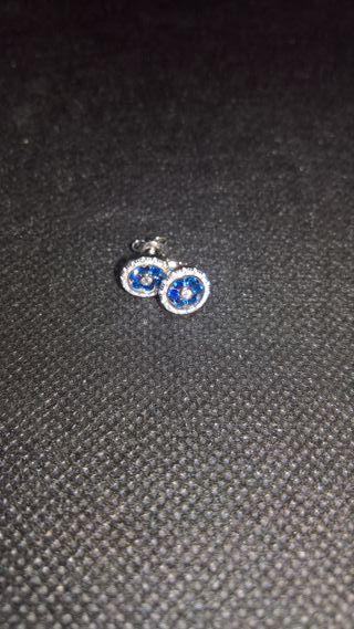 Flower 0.65ct Created Blue Spunel Stud Earrings