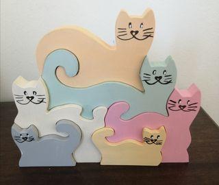 gatos puzzle hecho a mano