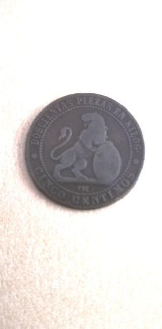 Moneda de 5 céntimos año 1870.