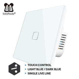 Interruptor conmutador tactil de cristal blanco