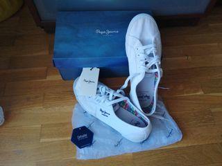 zapatillas blancas cordones de pepe jeans