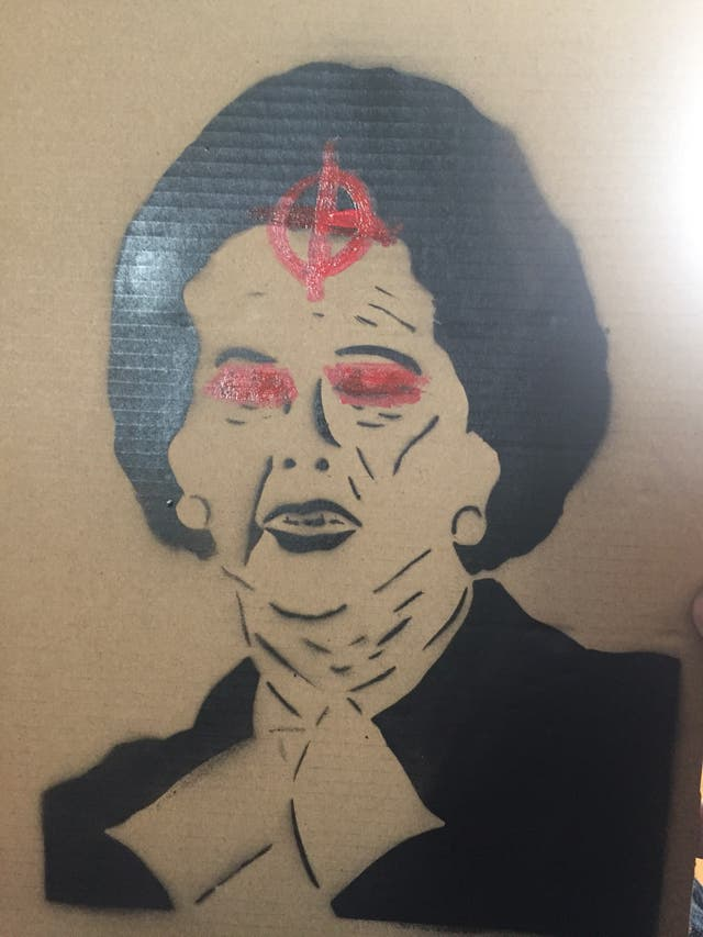 Anti Thatcher stencil art