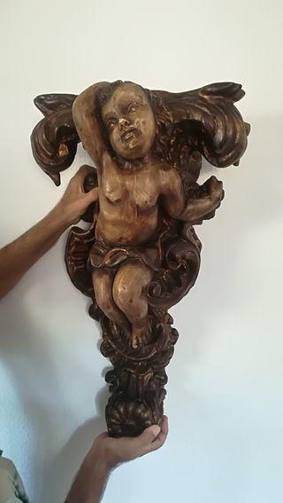 Pareja peanas antiguas angeles, tallas