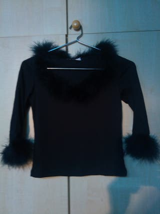 Jersey manga Tres cuarto negro Plumas