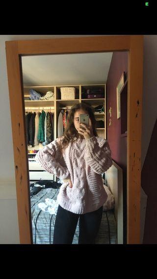 Gros pull en laine rose pale