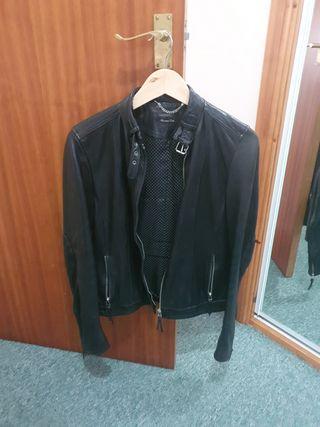 Massimo Dutti women leather jacket black S