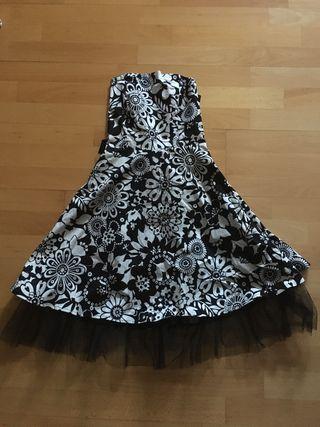 Vestido de fiesta negro y blanco