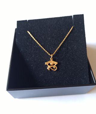 Collar Ojo de Horus Plata de Ley 925 chapado Oro