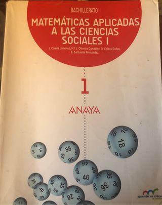 Libro Matematicas aplicadas a CCSS I (Anaya)