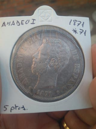 5 pesetas 1871*7 1