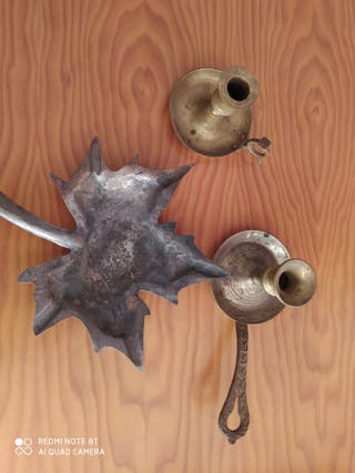 Portavelas y cenicero latón y cobre