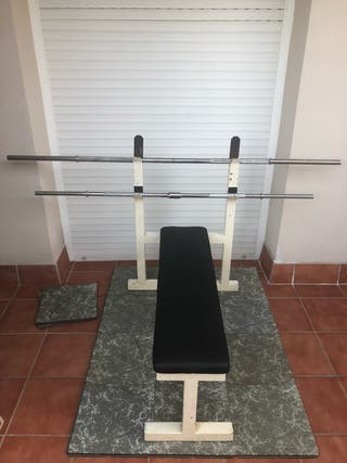 Conjunto press banca plano + pesas + suelo gym