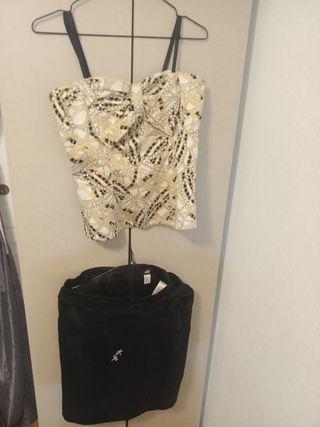 falda raso satén negra h&m top Blanco