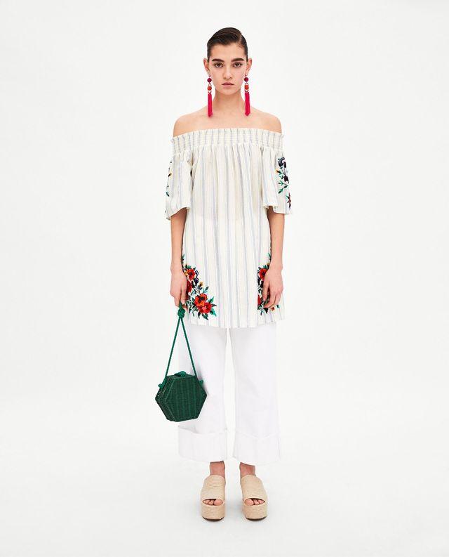 Vestido bardot flores Zara