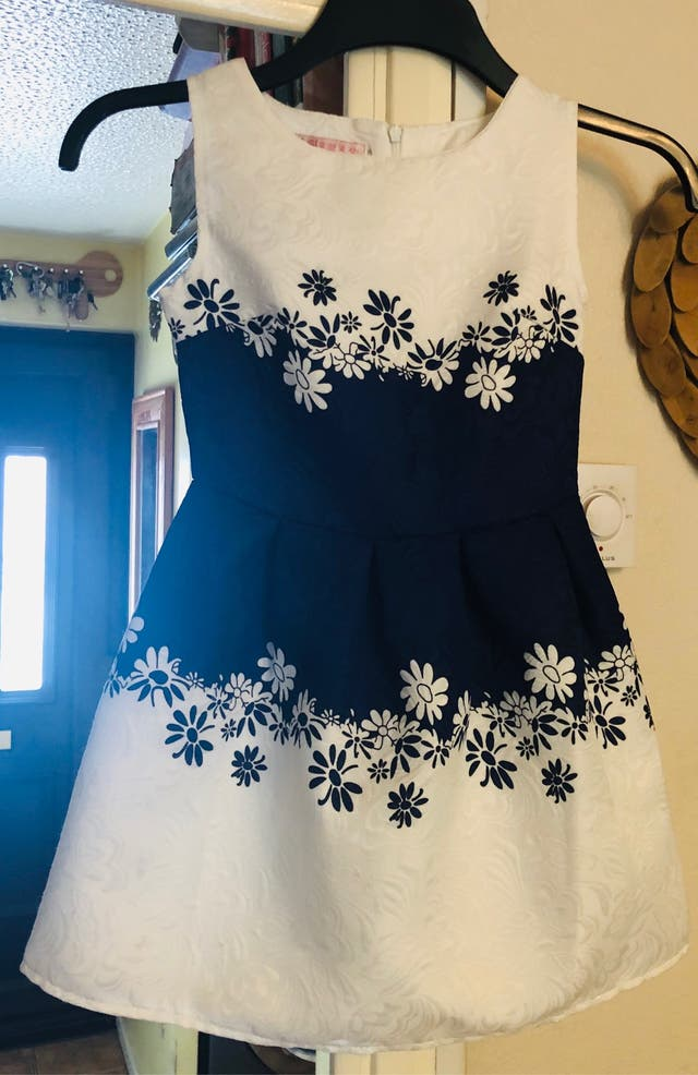 Girls White & Blue Party Dress 5-7 Years
