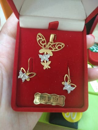 Conjunto mariposas oro 18 kilates